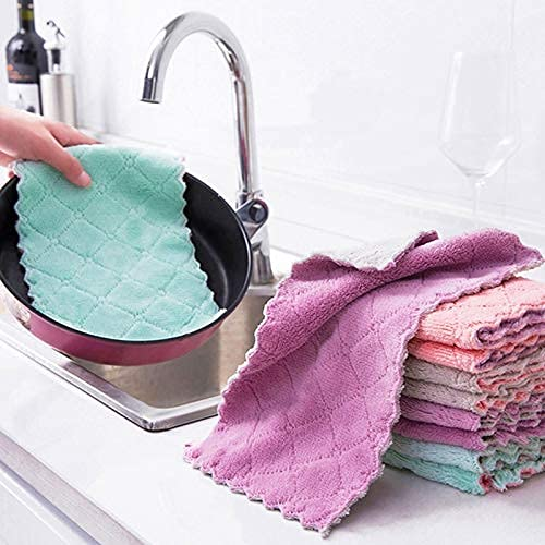 FSJIANGYUE Limpieza de Cocina Toallitas de Microfibra de Doble Capa Paño de Cocina Limpieza Antiadherente Limpieza doméstica Limpieza de Limpieza Toalla de Toalla Toallitas