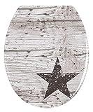 WENKO Tapa de WC Star - antibacteriano, fixation en acier inox, Duroplast, 37.5 x 45 cm, Multicolor