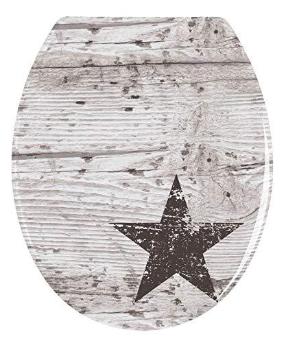 WENKO WC-Sitz Star - Antibakterieller Toilettensitz, rostfreie Edelstahlbefestigung, Duroplast, 37.5 x 45 cm, Mehrfarbig