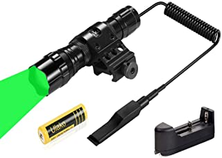 Ulako 150 Yards Green Light LED Varmint Predator Coyote Hog Pig Hunting Light Flashlight with Offset Mount