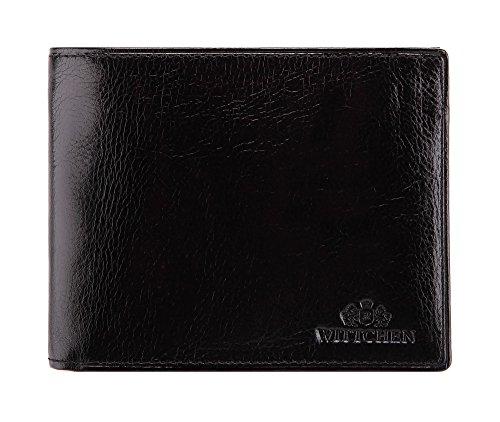WITTCHEN Geldbörse aus Rindsleder | Kollektion: Italy | mit Druckknopfverschluss | aus hochwertigen Materialien | elegant und klassisch | Schwarz | 12.5x10 cm