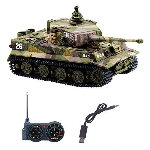 YouCute RC Tank mini tanque de control remoto con cable cargador USB 1:72 tigre alemán I con sonido regalo para niños Grils adultos 35MHz (amarillo)