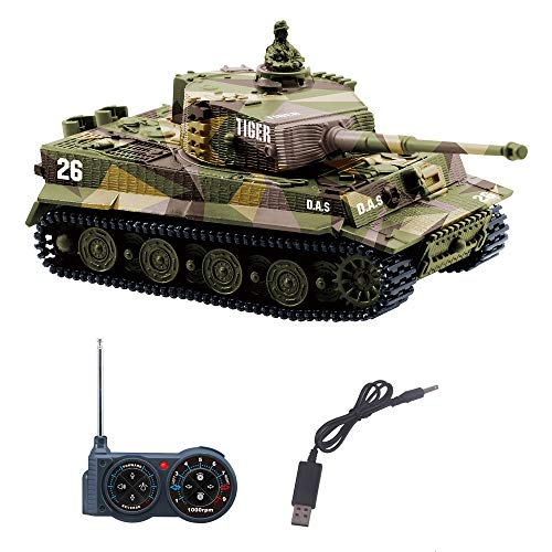 YouCute Mini RC Panzer mit USB Ladekabel Fernbedienung Panzer Panzer 1:72 Deutscher Tiger I mit Sound,...