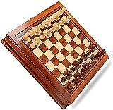 SCRT Ajedrez Ajedrez Conjunto de ajedrez magnético de Madera, ajedrez Conjunto con Tablero de cajones de Almacenamiento portátil, Juguetes educativos para ajedrez de acción de Gracias (Color : 31cm)