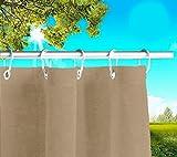 Toldos exteriores con agujeros en la parte de Arriba y los ganchos de metal Tejido antimoho repelente al agua Toldo de tela de algodón resinado para terrazas Gazebos Balcon (Tortola cm x H 280cm)