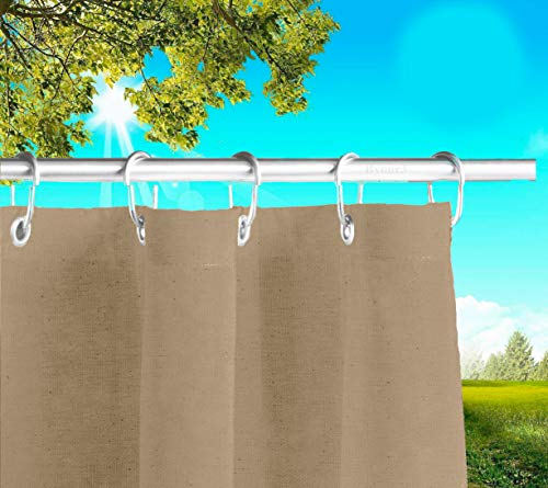 Outdoor Awnings with Drop Rings Made in Italy Fabric Waterproof Fabric Anti-mould Canvas Side Sunshades Gazebo Balconies Terrace Veranda Camper (Tortora, cm x H 280 cm)