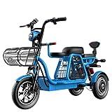 ZYW Scooter Eléctrico Scooter Tres Ruedas Adulto Bicicleta Eléctrica 30 AH Premium Bike 500 W 12 Pulgadas Triciclo con Bloqueo Eléctrico Asiento Niño Triciclo Eléctrico Bicicleta Eléctrica,Azul