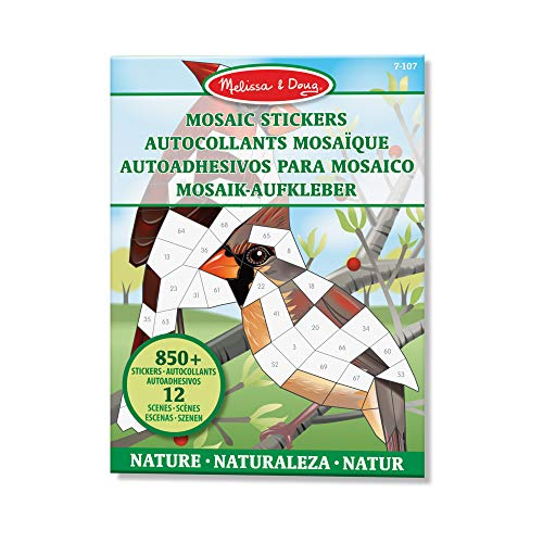 Melissa & Doug 40162 Mosaik-Stickerblock der Natur (12 bunte Bilder zum Ausfüllen mit mehr als 850 Stickern)