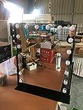 PJPPJH Miroir de vanité, Miroir de beauté de Miroir de Maquillage de Salle de Bains a allumé la lumière de Remplissage menée par HD de Bureau 12 lumières