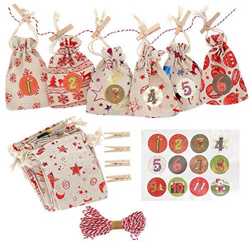 SHIPITNOW - Kit calendario dell'Avvento natalizio 73 pezzi fai da te – Set di 24 buste regalo rosso e bianco in tessuto stampato da riempire – Autoadesivi 1-24 – 24 spille in legno – Cordoncino 10 m