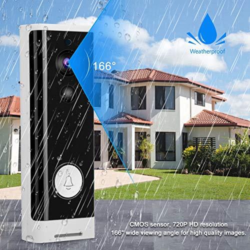 Ultra bajo Consumo de energía Timbre de la cámara 720P WiFi Timbre de la Puerta WiFi 2.4Ghz Pir Detección de Movimiento Monitoreo del teléfono móvil Timbre de Video, para la Seguridad del(#1, Transl)