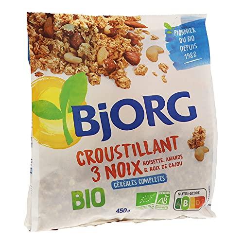 Bjorg Croustillant 3 Noix Bio - Céréales complètes pour le petit-déjeuner - 450 g