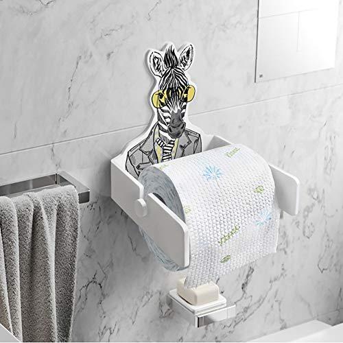 Kreativ Wall Mount Toilettenpapier Rollenhalter,einfach Cartoon Kein Bohrer Papier-Handtuch-Rack Badezimmer Küchenaufbewahrung Zebra