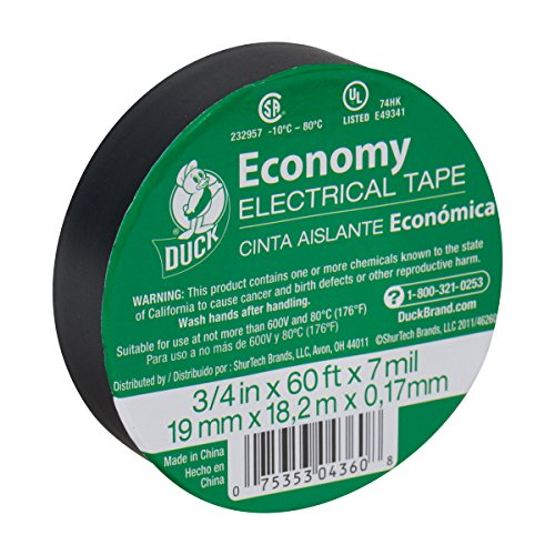 Duck 299006 Utility Vinyl Electrical Tape, 3/4 Inch x 60 Feet (Single Roll), Black
