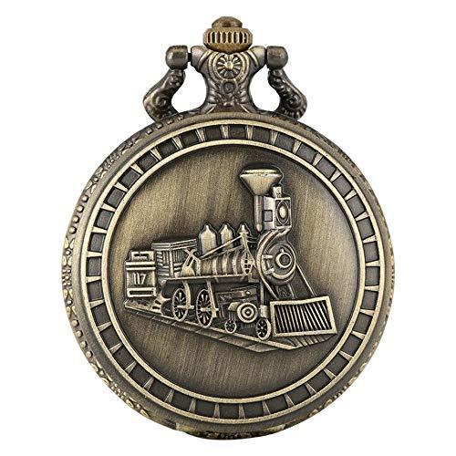 J-Love Reloj de Bolsillo con Collar de Bronce con diseño de Tren Steampunk, Reloj Colgante de Recuerdo Vintage para Hombres y Mujeres, Cadena Fob, 2020