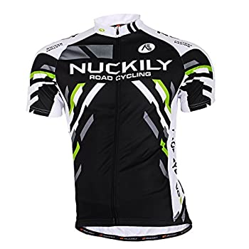 NUCKILY Mens Cycling Jersey Short Sleeve Biking Shirts Bicycle Clothing Bike Jacket Tops Quick Dry with 3 Pockets