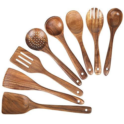 Wooden Spoons for Cooking Kitchen Utensils Set Natural Teak Wood Spoon and Spatula for High Heat Stirring Baking Non Stick Pots and PansCooking Spoons Wooden Spatula for Nonstick Cookware 8