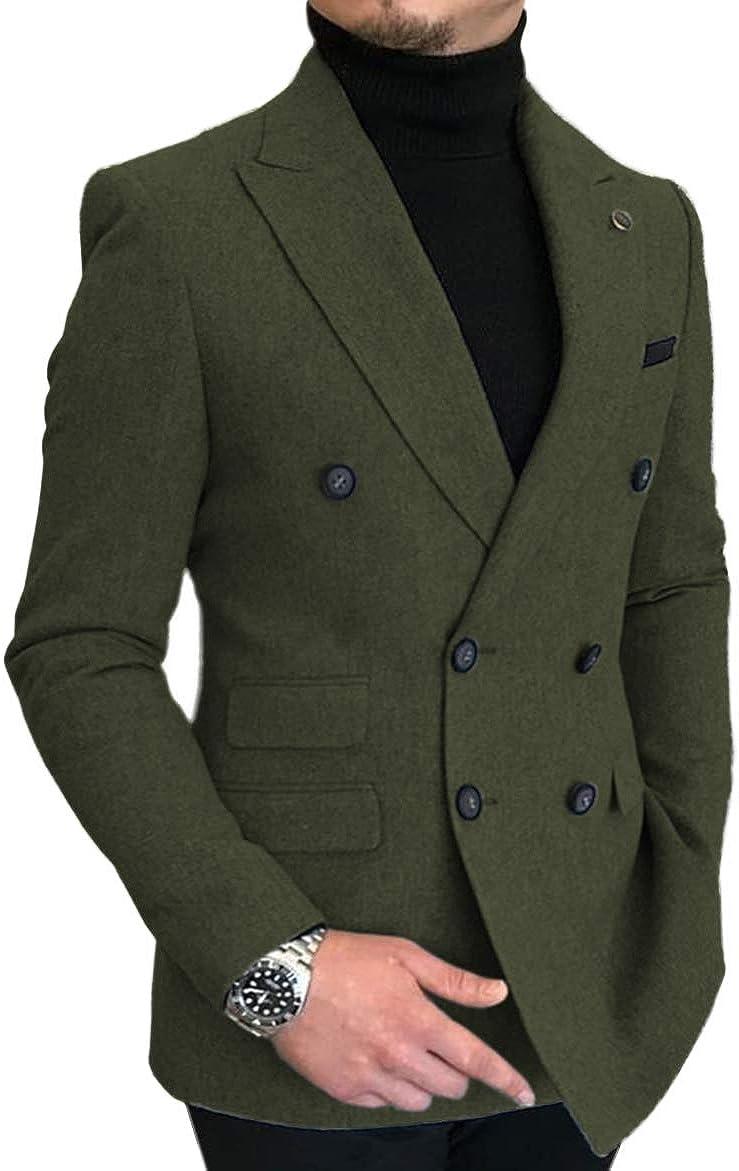 Mens Suit One Piece Jacket Virginia Beach Mall Casual Peak OFFicial shop Lapel Wool Solid Tu Tweed