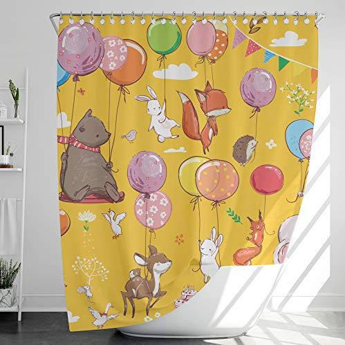 INNObeta Textil Duschvorhang mit 12 duschvorhangringe, antischimmel, wasserabweisend, wasserdicht, strapazierfähig, Bad Dekor, Maschinenwaschbar, 120x180 cm, Tiere, Gelb, Bär, Kaninchen, Kinder