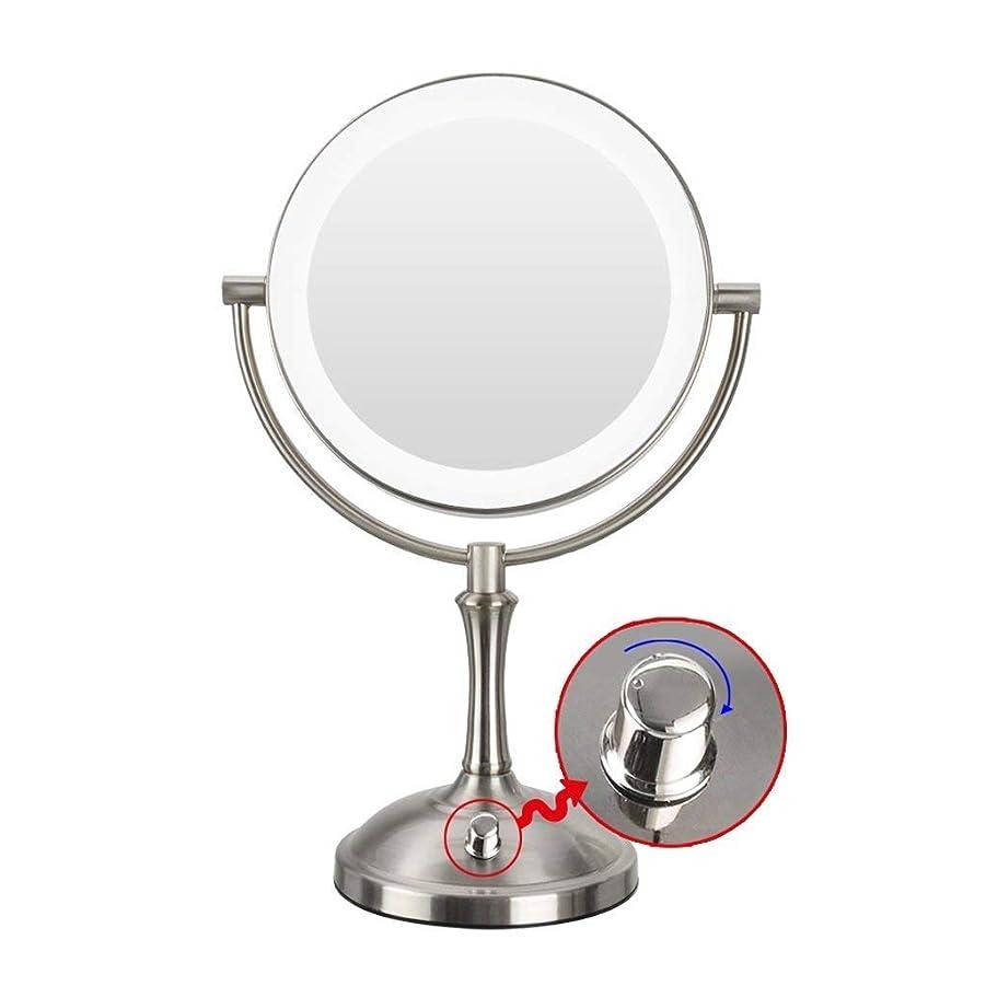 不忠機関かもめDong-WW 鏡 浴室鏡化粧ミラー360度。回転ダブルトラベルポータブルシェービング用ミラーを充電3倍拡大LEDミラーメイク白熱USBを両面