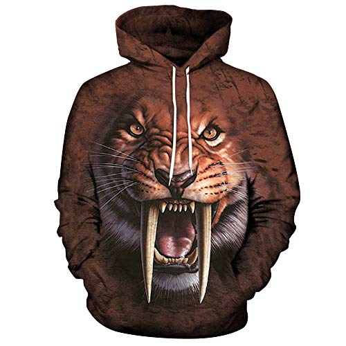 Best Prices! Men Handsome Tiger 3D Print Hoodies Pullover Tee,Man Loose O Neck Long Sleeve Pocket T ...