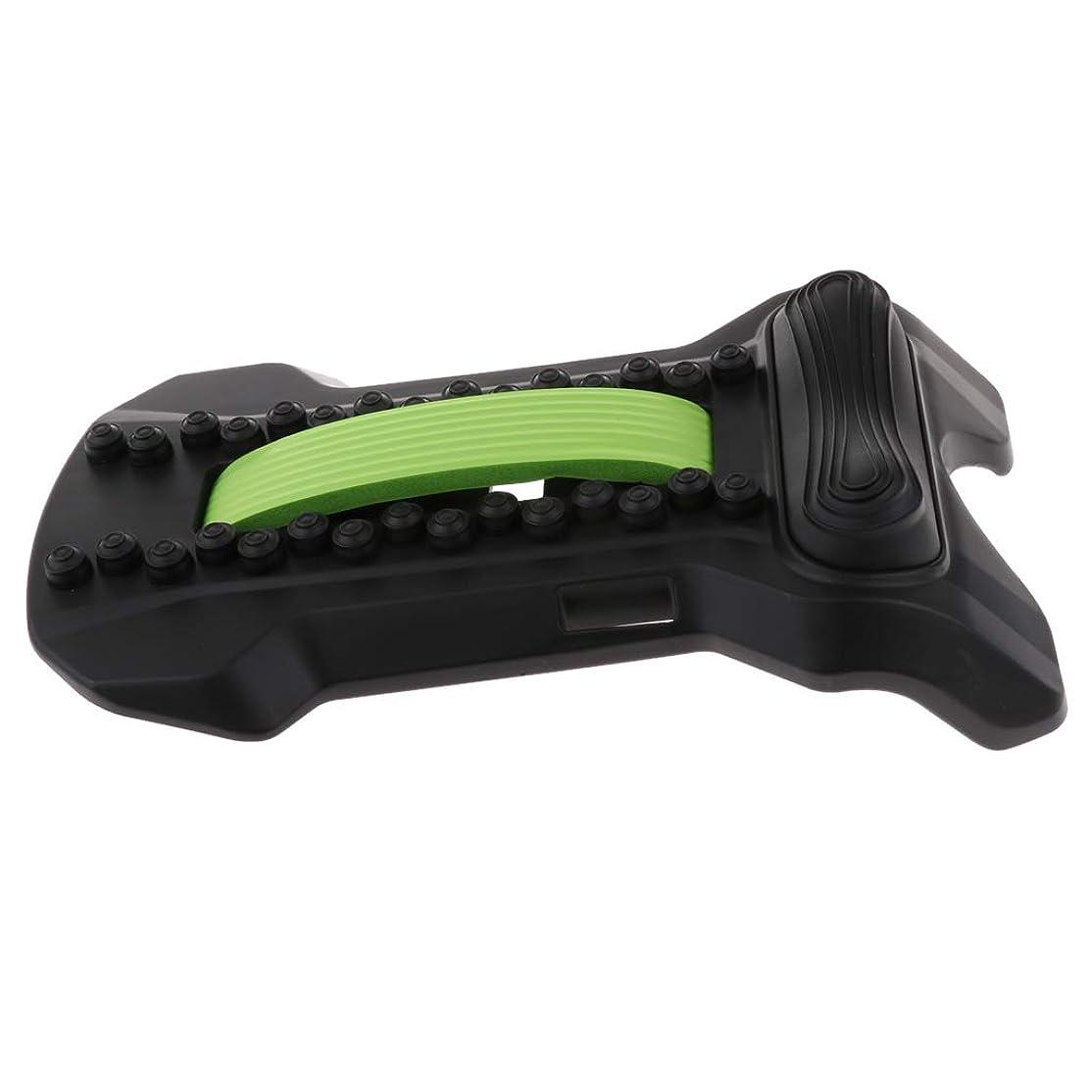 一緒に識字ショップFLAMEER バックストレッチャー 腰椎 頸椎 腰痛 肩こり 解消 ツボ押し ストレッチ 姿勢 矯正 軽量 全5色 - ブラックグリーン, 22×37×8cm