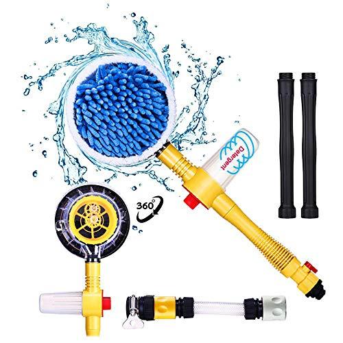 Fochutech Car Wash Brush, Car Cleaning Kit, 360° Spin Car Mop, Microfiber Car CleaningBrush, Detachable & ExtendableScrub Brush, Garden Hose Spray Nozzle Spray Gun For Car Home Cleaning & Garden Use
