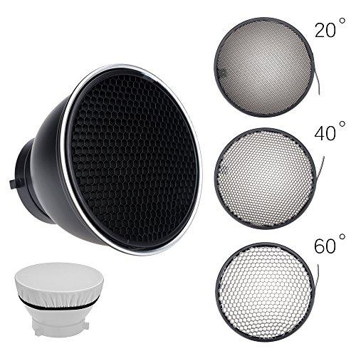 Godox 20/40/60度の標準リフレクター7インチ/ 18cmディフューザーハニカムグリッド+ボーウェンマウントスタジオ用ストロボフラッシュ(リフレクター+20/40/60°ハニカム)