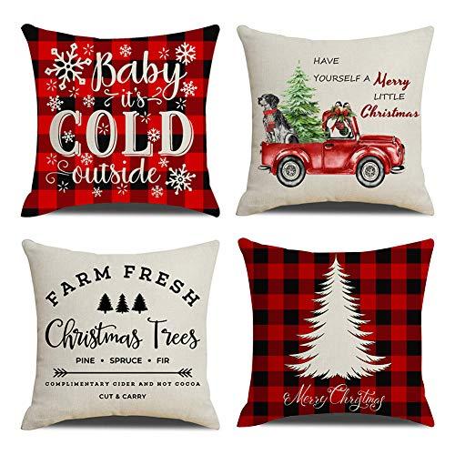 KACOPOL Farm Fresh Christmas Tree Pillow Covers Red Black Buffalo Check Plaid Christmas Quotes Farmhouse Decorative Cotton Linen Throw Pillow Case Cushion Cover 18' x 18' (Xmas Quotes Farmhouse Truck)