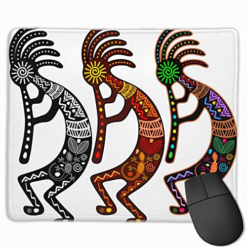 HFXY Alfombrilla de ratón Non-Slip Rubber Gaming Alfombrilla de ratón, Culture Kokopelli of Colors Music Agriculture American Ancient Aztec-01