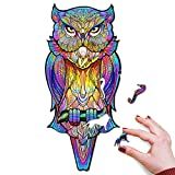 Colorfox Owl Puzzle Wooden Jigsaw Puzzles for Adults Gifts, Wooden Animal Shaped Unique Puzzles for Adults,Wood Toy Liberty Cut Bird Puzzle Adult Jigsaw,Owl Gifts for Owl Lovers(King-10x22 in-263Pcs)