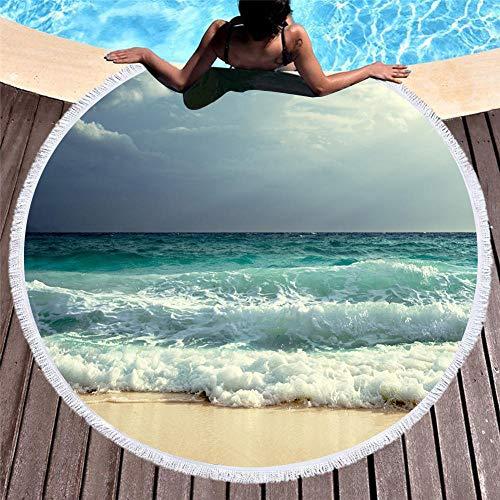 Vanzelu Ronde strandhanddoek van polyester, zomer-strandhanddoek 3D digitaal bedrukt oversized strandhanddoek, 150X150cm H