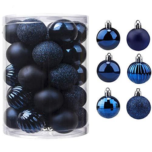 Bolas de Navidad 34 Piezas Bolas para árbol de Navidad Adornos Pared Colgante de Inastillable Decoraciones Árbol Bolas Decorativas Boda de Fiesta Hogar decoración para Vacaciones Ø4-6cm (Armada, 6CM)