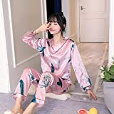 MLDSJQJ Conjuntos de Pijamas de otoño para Mujer Estampado de Flores Moda Seda Femenina Dos Piezas Camisas Pantalones Largos Conjunto de Ropa de Dormir   Conjuntos de pij,C WZ V Fen BAI he,L