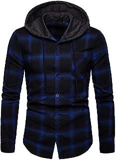 FSSE Mens Casual Long Sleeve Slim Checkered Hoodie Button Up Dress Work Shirt