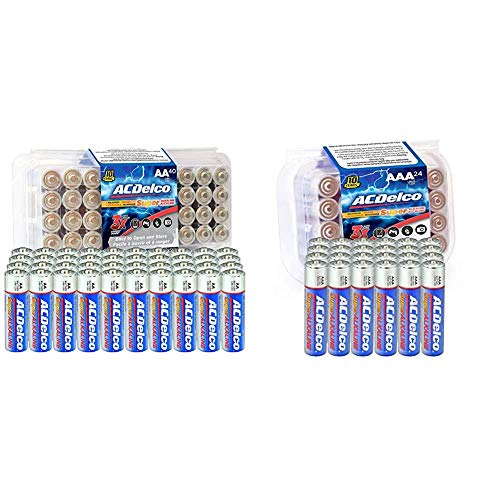 ACDelco 40-Count AA Batteries, Maximum Power Super Alkaline Battery, 10-Year Shelf Life, Recloseable Packaging & 20-Count AAA Batteries, Maximum Power Super Alkaline Battery