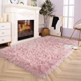 Ucomn Luxury Soft Faux Sheepskin Rug, Couch Seat Cushion, Faux Fur Area Rugs for Bedroom and Living Room Runner, 4' x 5.9', Pink
