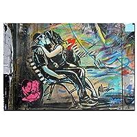 HDプリントグラフィティポスタープリントキスカップル絵画キャンバス抽象ポップアート壁画リビングルーム家の装飾60x90cmフレームレス