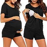 XIAOQI Maglietta da donna per allattamento, a maniche corte, per gravidanza, maternità, allattamento, set completo di pigiama Nero M