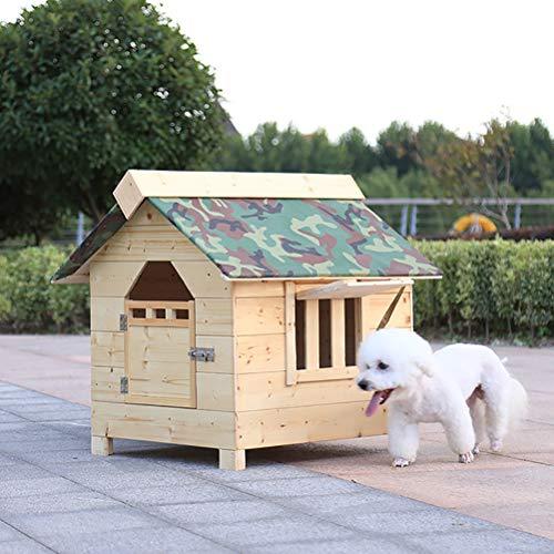 ZEIYUQI Hundehütte Garden XXL Outdoor Wetterfest Mit Tür Einfach Zu Säubern Perfekt Für Draußen 5 Größen Zur Wahl,Natural,L