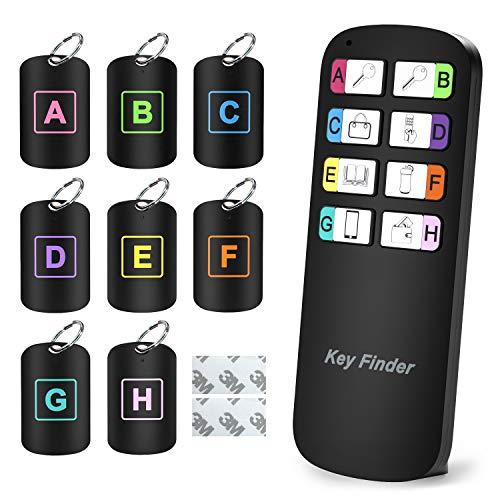 Key Finder, Magicfly Wireless RF Artikel-Finder, Artikel-Tracker-Support-Fernbedienung Schlüsselbundsucher, Empfänger leuchten beim Piepen, 1 HF-Sender und 8 Empfänger