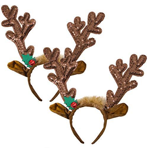 Cooraby 2 Pack Christmas Antler Headband Sequin Reindeer Headband Christmas Headwear Accessory