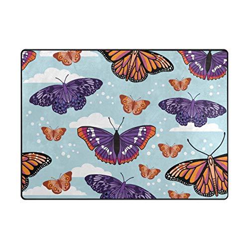 Lafle Alfombra de poliéster con diseño de mariposas con nubes y espuma viscoelástica para sala de estar, dormitorio, antideslizante y lavable, alfombra grande de 201 x 122 cm