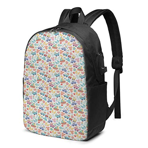 WEQDUJG Mochila Portatil 17 Pulgadas Mochila Hombre Mujer con Puerto USB, Juguetes de Ropa de bebé de Dibujos Animados Mochila para El Laptop para Ordenador del Trabajo Viaje