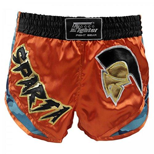 4Fighter Sparta Muay Thai Shorts High Rise orangebraunes Satin mit blauen Camo Sides, Größe:XXL