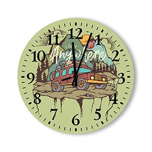 Reloj de pared silencioso sin garrapatas, relojes de pared vintage para niños de 15 pulgadas, con texto 'I Can Go Anywhere, relojes de madera para habitación de los niños para la cocina y el baño