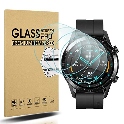 Diruite 4-Stück für Huawei Watch GT 2 (46mm Version) Panzerglas Schutzfolie, HD Glas Bildschirmschutzfolie für Huawei Watch GT 2 (46mm Version) Intelligente Uhr [Anti-Kratzen] [Anti-Öl]