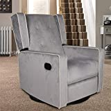 Polar Aurora Swivel Glider Rocker Recliner - Single Suede Tufted Gliding Chairs for Living Room Home Theater (Light Gray)