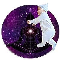 紫の瞑想チャクラ 子供のサークル ラグ、カーペット ブランケット マット、家族の寝室のリビング ルーム ゲーム ルームの床の装飾で使用