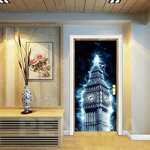 Deurfolie 3D Deurfolie Diy Muurschildering Waterdicht Behang Zelfklevende Deursticker Big Ben Print Foto Renovatie Slaapkamer Interieur-As_Shown_77X200Cm